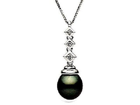 14kt Gold 10-11mm Black Tahitian Pearl and Diamond Drop Pendant