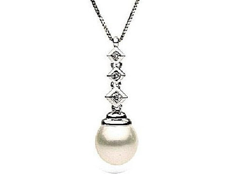 14kt Gold 10-11mm White Tahitian Pearl and Diamond Drop Pendant