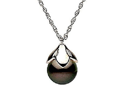 10-11mm Black Tahitian Pearl and Diamond Pendant