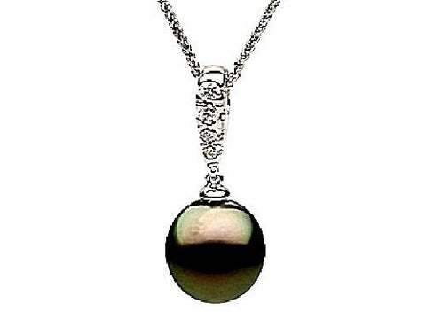 14kt Gold Black Tahitian Pearl and Diamond Pendant 10-11mm