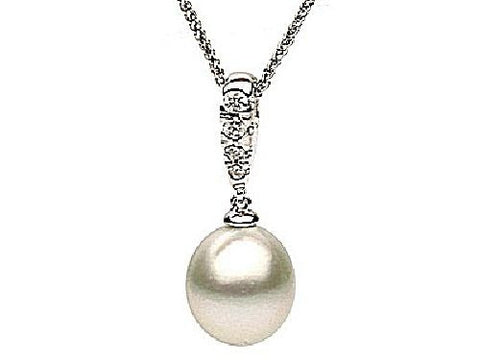 14kt Gold South Sea Pearl and Diamond Pendant 10-11mm
