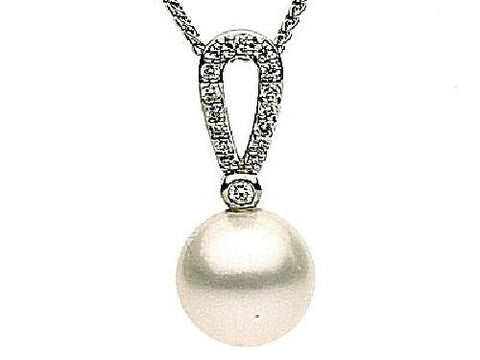 14kt White Gold Pearl and Diamond Pendant 9-10mm