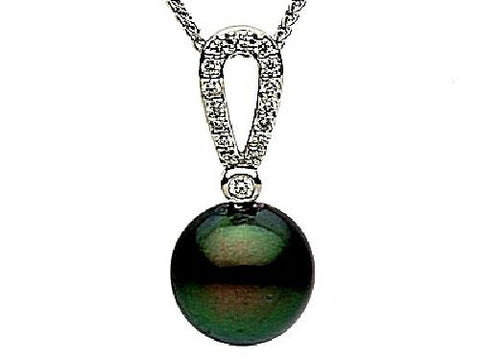 14kt White Gold Black Pearl and Diamond Pendant 9-9.5mm