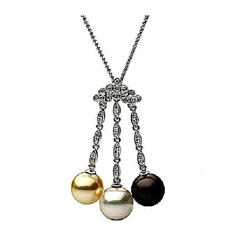 Black,White and Gold Pearls set in 18kt Gold and Diamond Pendant