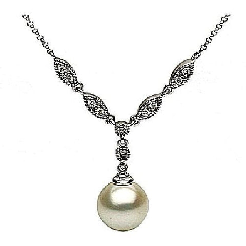 14kt White Gold Freshwater Pearl and Diamond Pendant 9-10mm