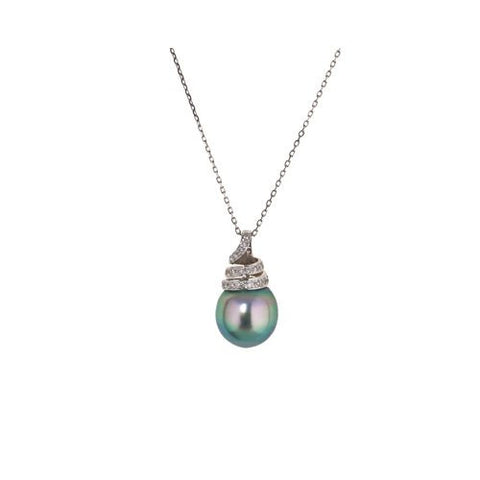 14kt White Gold Diamond and 12.5mm Gray Tahitian Pearl Pendant