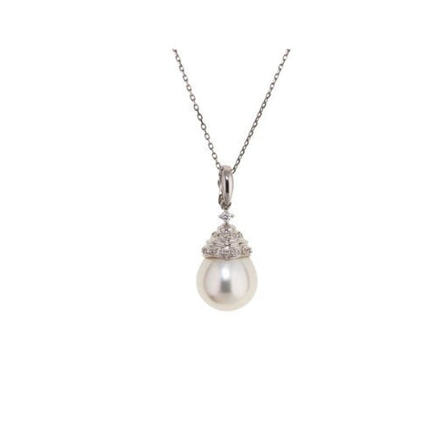 18kt White Gold Diamond and 12mm South Sea Pearl Pendant
