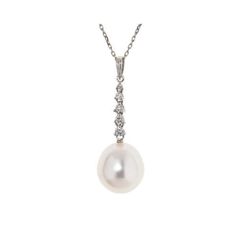 14kt White Gold Diamond and 10mm South Sea Pearl Pendant