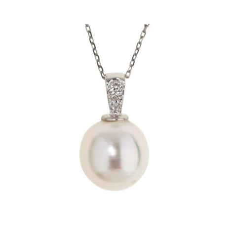 14kt White Gold Diamond and 12.5mm South Sea Pearl Pendant