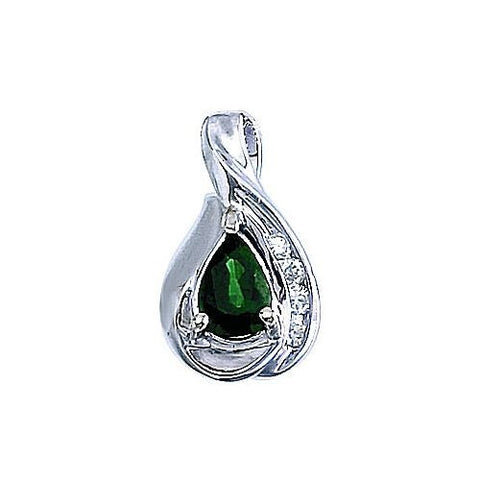 14kt White Gold Diamond and Pearshape Emerald Pendant