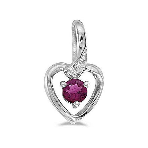 14kt White Gold Rhodolite and Diamond Heart Pendant