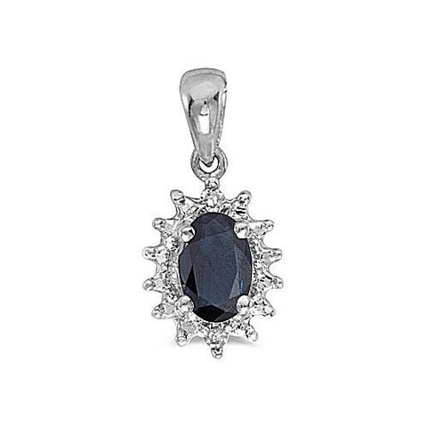 14kt White Gold Oval Blue Sapphire and Diamond Pendant