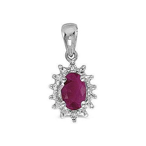 14kt White Gold Oval Ruby and Diamond Pendant