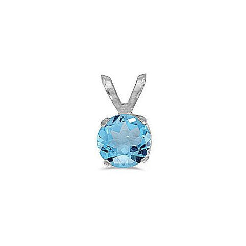 14kt White Gold 5mm Round Blue Topaz Pendant