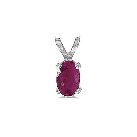 14kt White Gold Oval Ruby Pendant