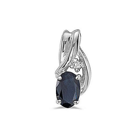 14kt White Gold Oval Sapphire and Diamond Freeform Pendant