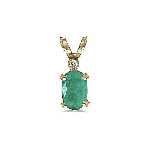14kt White Gold Oval Emerald and Diamond Pendant