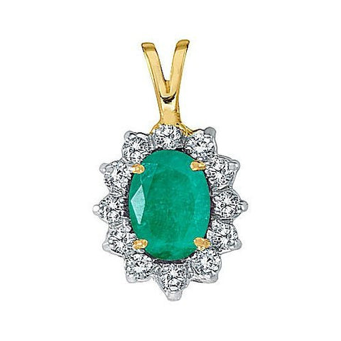 14kt Yellow Gold Oval Emerald and Diamond Pendant