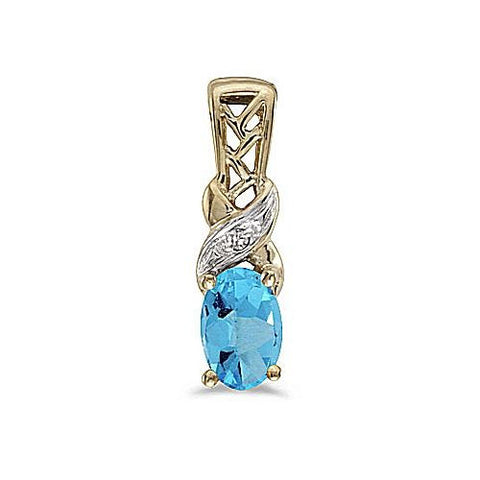 Oval Blue Topaz and Diamond 14kt Yellow Gold Pendant