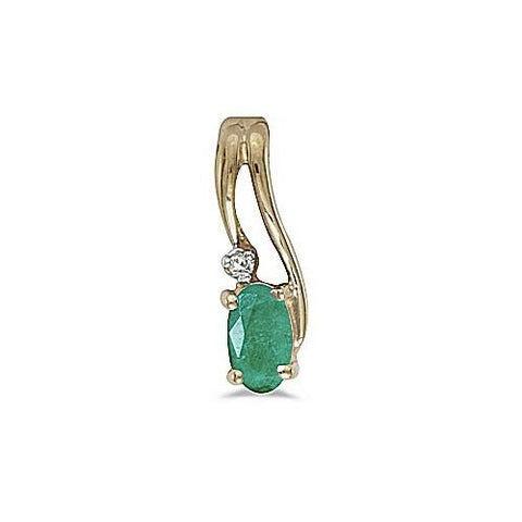Oval Emerald and Diamond 14kt Yellow Gold Pendant