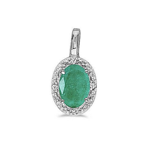 14kt White Gold Oval Emerald and Diamond Pendant 0.40ct TW