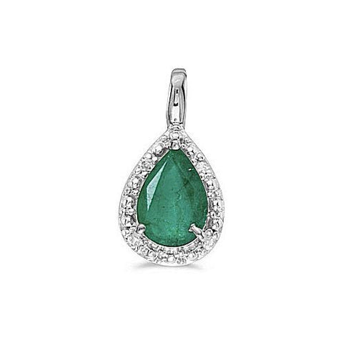 14kt White Gold Pearshape Emerald Pendant