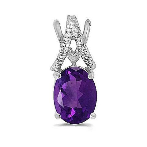 14kt White Gold Oval Amethyst and Diamond Pendant 1.10ct TW