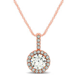 14kt White Gold Round  Diamond Halo Pendant 1.00ct TW with Chain