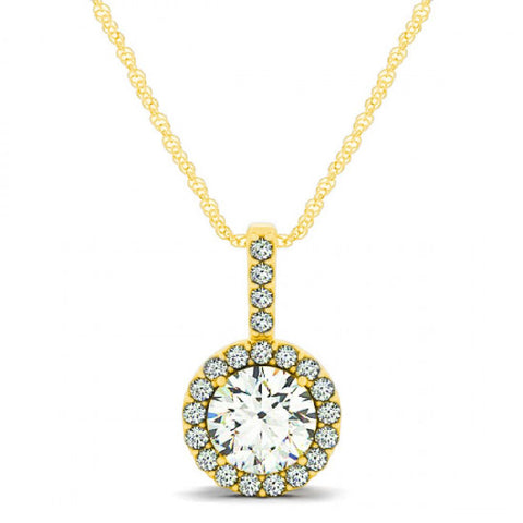 14kt white gold round diamond halo pendant 100ct tw with chain aloadofball Gallery