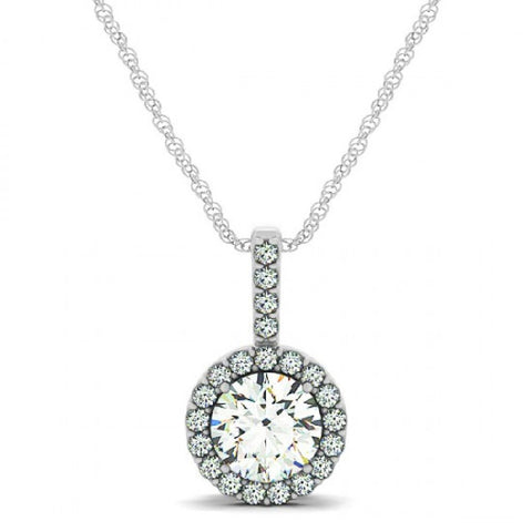14kt White Gold Round  Diamond Halo Pendant 0.70ct TW with Chain