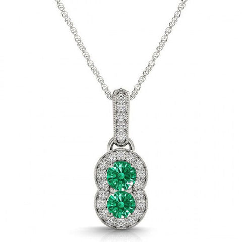 14k White Gold 2 Stone Emerald and Diamond Pendant 0.75ctTW