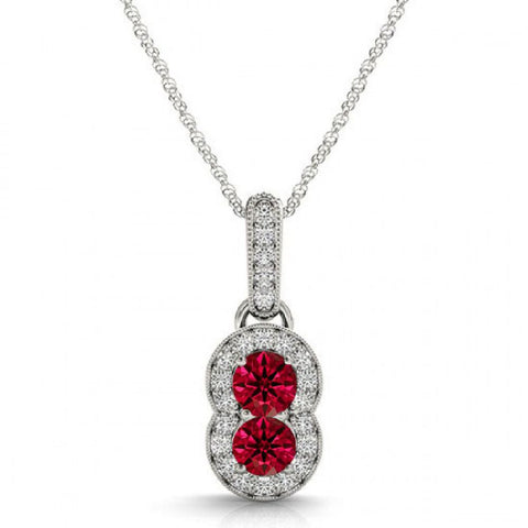 14k White Gold 2 Stone Ruby and Diamond Pendant 0.89ctTW