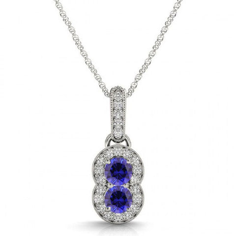 14k White Gold 2 Stone Blue Sapphire and Diamond Pendant 0.89ctTW