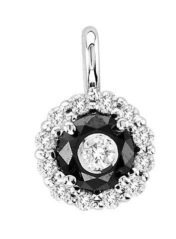 14kt White Gold Round Black and White Diamond Pendant 1ct TW