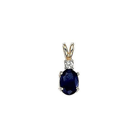 Diamond and Sapphire 14kt Yellow Gold Pendant 1.05ct TW