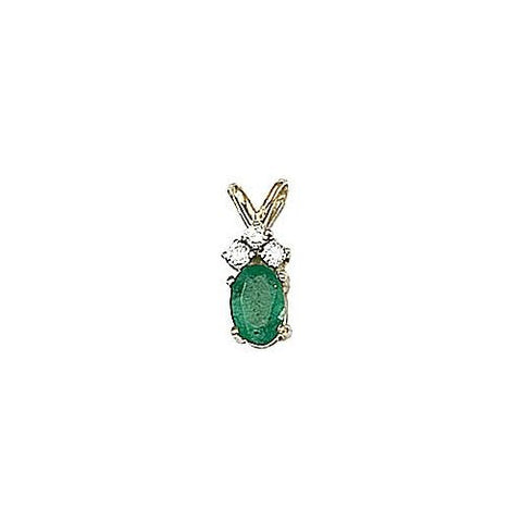 Oval Emerald 0.50ct and Diamond 14kt Gold Pendant