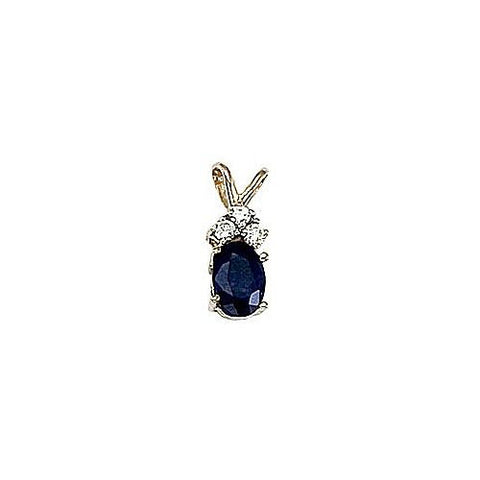 Oval Sapphire 0.60ct and Diamond 14kt Gold Pendant