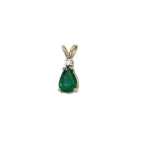 Pearshape Emerald 0.65ct and Diamond 14kt Gold Pendant