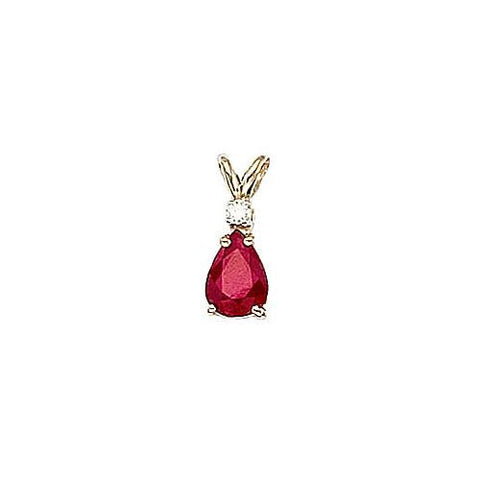 Pearshape Ruby 0.80ct and Diamond 14kt Gold Pendant