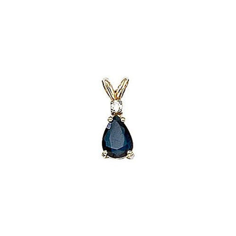Pearshape Sapphire 0.80ct and Diamond 14kt Gold Pendant