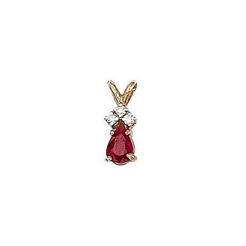 14kt Gold, Ruby and Diamond Pendant 0.50ct TW
