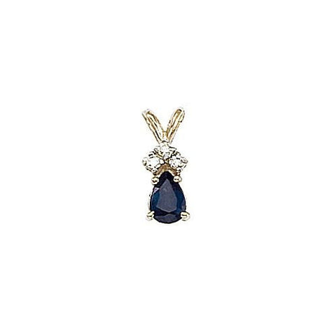 14kt Gold, Blue Sapphire and Diamond Pendant 0.50ct TW