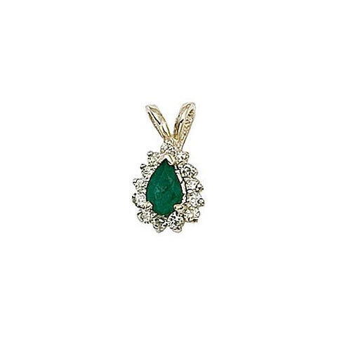 14kt Yellow Gold Diamond and Emerald Pendant 0.65ct TW