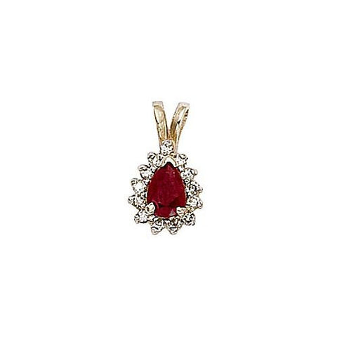 14kt Yellow Gold Diamond and Ruby Pendant 0.70ct TW
