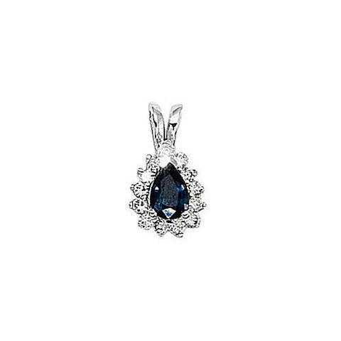 14kt White Gold Diamond and Blue Sapphire Pendant 0.70ct TW