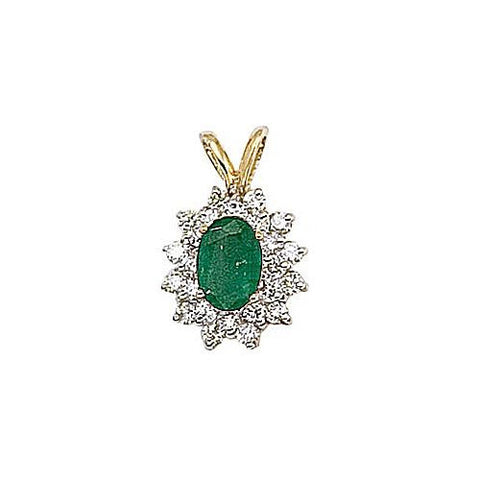 14kt Yellow Gold Diamond and Emerald Pendant 0.90ct TW
