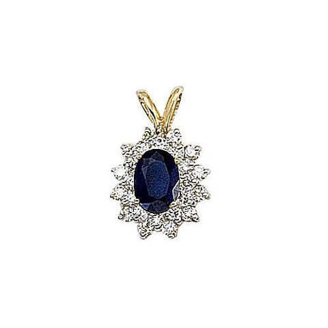 14kt Yellow Gold Diamond and Blue Sapphire Pendant 1.10ct TW