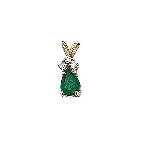 14kt Gold Diamond and Pearshape Emerald Pendant 0.75ct TW