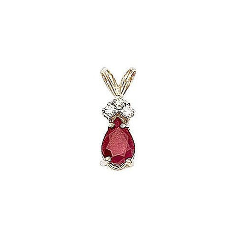 14kt Gold Diamond and Pearshape Ruby Pendant 0.80ct TW