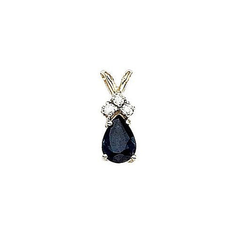 14kt Gold Diamond and Pearshape Sapphire Pendant 0.80ct TW